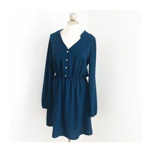Everly navy pearl button long sleeve dress large
